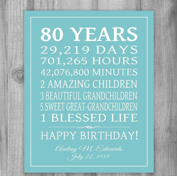 80th birthday gift keepsake, or any year... Celebrate your loved ones birthday with this special gift, using your words. Shown here with days