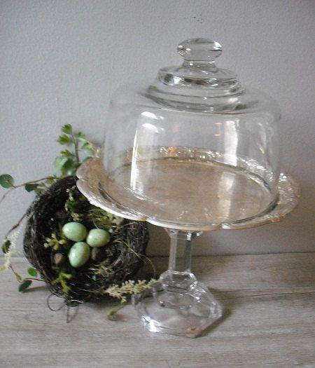 LOVE THIS - ADD THE BASE FROM A CANDLESTICK OR OTHER ITEM!  Silver platter + cake dome