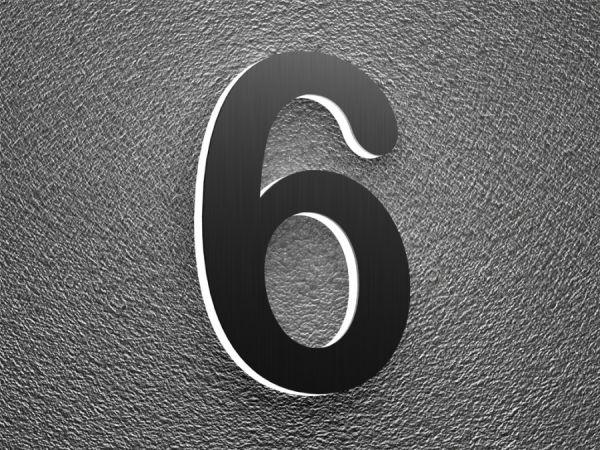 Klingelknopf24.de - Türklingeln von Nano-Tec-Design - Beleuchtete Edelstahl Hausnummer 6 mit Led-Hintergrundbeleuchtung