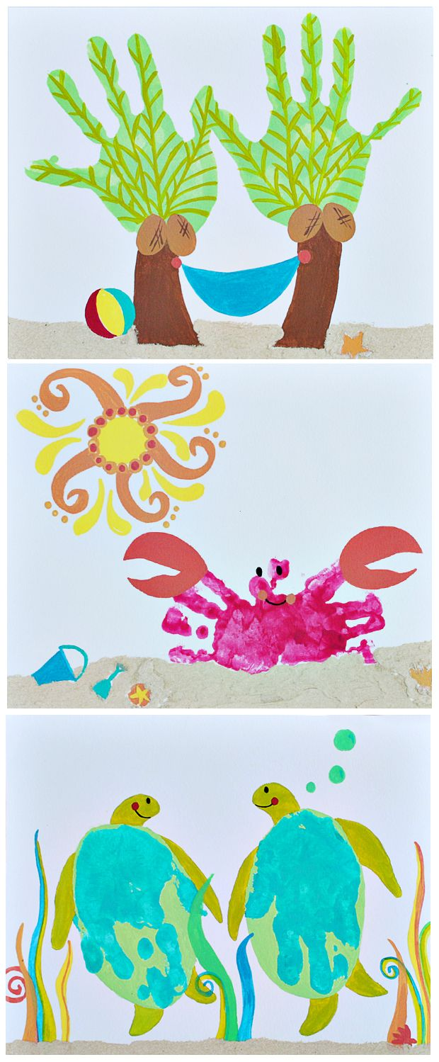 More Handprint Art - my kids love getting paint on their hands....gonna have to try these! #crafts #handprint art