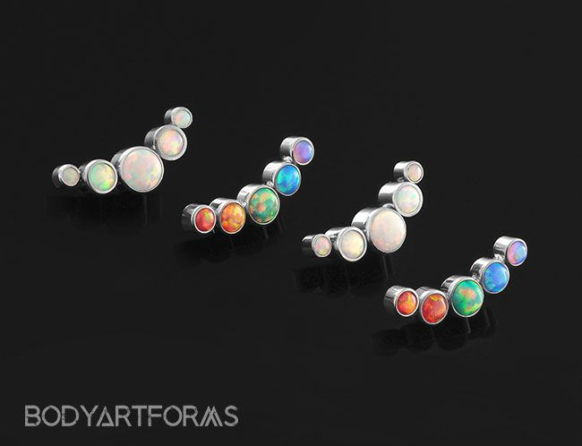 Titanium Internally Threaded Opal Curved Cluster End | Tats