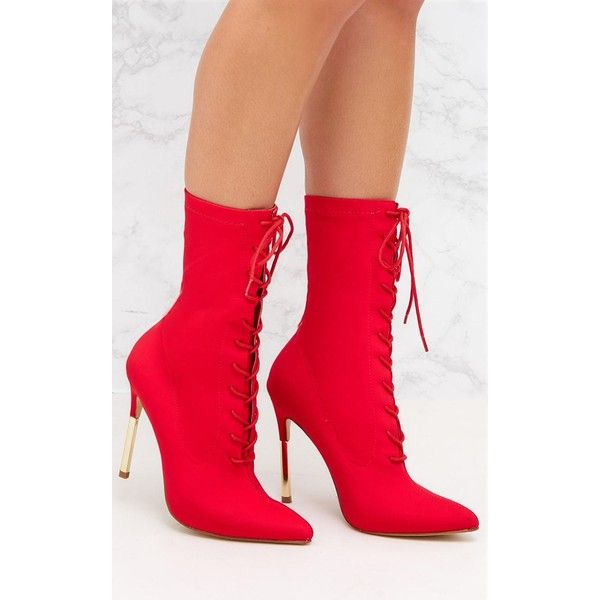 2c528729ee1 Red Lycra Lace Up Gold Slim Heel Ankle Boot ($53) ❤ liked on ...