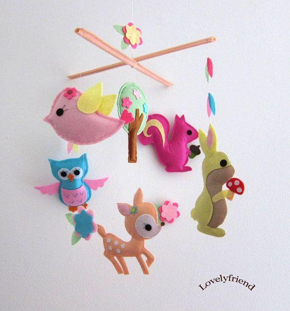Baby Crib Mobile - Baby Mobile - Felt Mobile - Nursery mobile -  girly deer design (Custom Color Available) via Etsy
