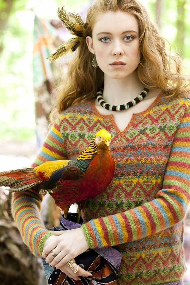 Vogue Knitting Fall 2014: #22 Vibrant Colorwork Pullover pattern by Marie Wallin