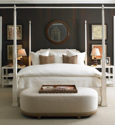 DARK CHARCOAL WALLS WITH ALL WHITE FURNITURE IN BEDROOM Chamfered King Poster Bed