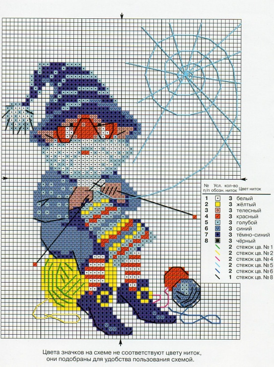 Cross-stitch Knitting Elf... no color chart available, just use the pattern chart as your color guide.. or choose your own colors...   Gallery.ru / Фото #116 - Пчелка 2 - Ka