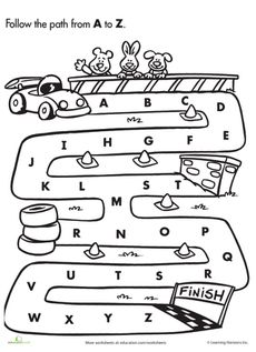a to z easy maze, use this free printable to practice abc song with a car