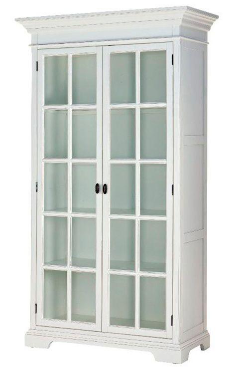 byrå 30 cm djup ~ vitrinskåp i lackad massiv poppelmdf 2 dörrar 4
