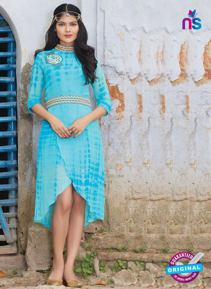 SC 12387 SkyBlue and Golden Pure Georgette Party Wear Tunic