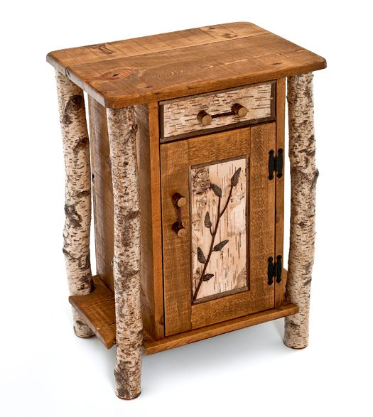 Our lodge side table is handcrafted the way furniture was made hundreds of years ago.  Real birch bark logs are reclaimed with their bark intact.  Weathered barn wood is salvaged.  The two are combined to create a very unique rustic end table, side table or nightstand.  Our lodge side table features a drawer and door