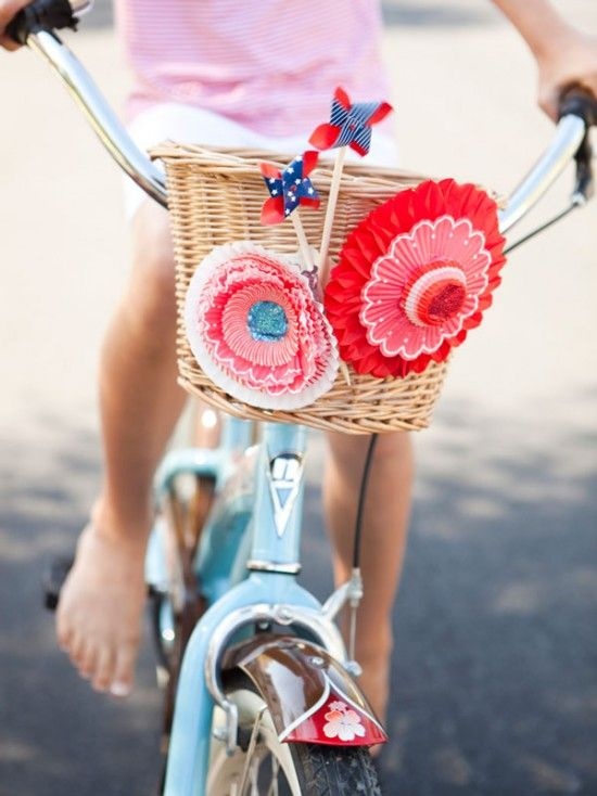 fun 4th of July bike parade: Bike Decoration, Cupcake Liners, Bike Riding, Fourth Of July, July Crafts, Paper Flower, 4Th Of July, July 4Th, Bike Baskets
