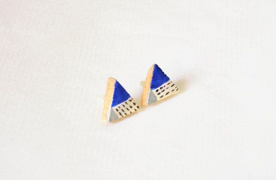 Check out this item in my Etsy shop https://www.etsy.com/listing/217451545/blue-wooden-triangle-stud-earrings-hand