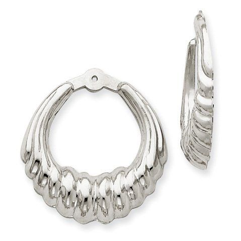 14k White Gold Scalloped Hoop Earring Jackets. Jewelry Pot. $147.99. Your item will be shipped the same or next weekday!. 30 Day Money Back Guarantee. Fabulous Promotions and Discounts!. 100% Satisfaction Guarantee. Questions? Call 866-923-4446. All Genuine Diamonds, Gemstones, Materials, and Precious Metals