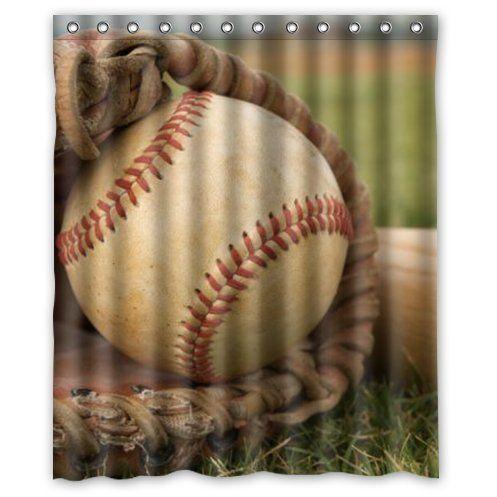 Vintage Baseball Shower Curtain  #baseball #bathroom