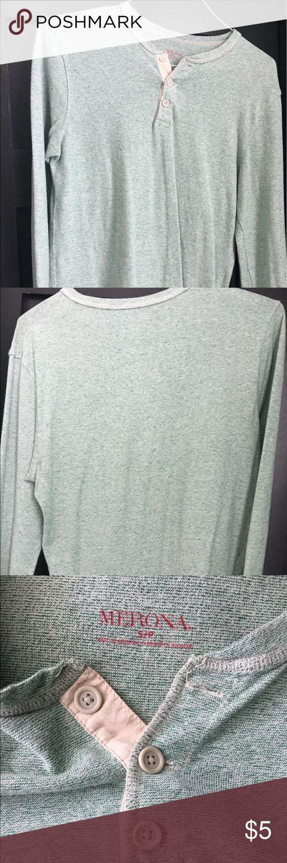 Merona pale green men's Henley tee Thin material, pale green Henley tee shirt. Slim fit. Merona Shirts Tees - Long Sleeve