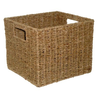 """$12.99 each at Target. would need 9 to fill storage shelving unit from Target. """"Target Home Natural Seagrass Storage Cube"""""""