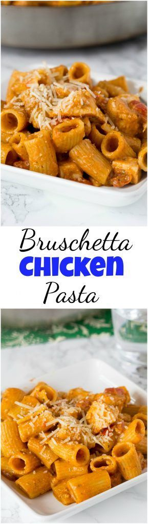 Bruschetta Chicken Pasta - an easy chicken pasta loaded with lots of tomatoes, seasoned chicken, and topped with Parmesan cheese.  Easy to make and ready quickly for any night of the week. #food #pasta #recipe #italianchicken #chicken #pesto