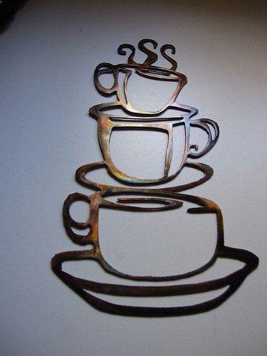 COFFEE CUPS Kitchen Home Decor Metal Wall by HEAVENSGATEMETALWORK