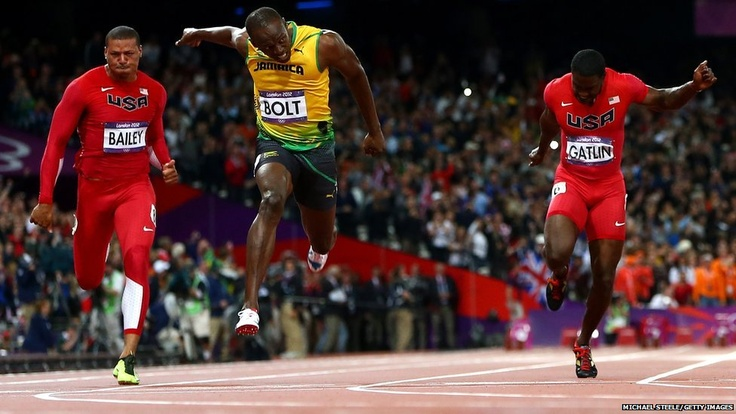 Usain Bolt of Jamaica crosses the finish line to win the Men's 100m Final on Day 9 of the London 2012 Olympic Games at the Olympic Stadium in London. The 25-year-old Jamaican won in an Olympic record time of 9.63 seconds.