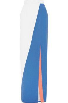 Roksanda Color-block wool-crepe maxi skirt   NET-A-PORTER