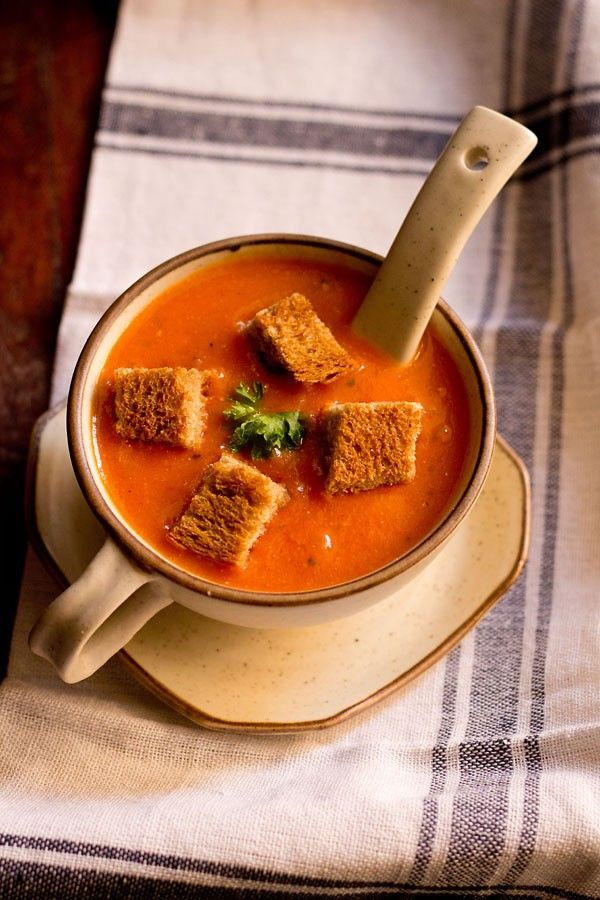 tomato soup recipe - easy to make restaurant style tomato soup recipe with step by step photos.