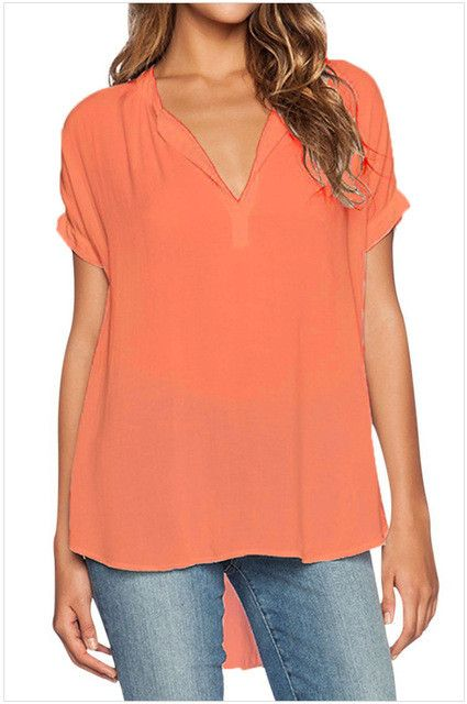 Women Chiffon Blouse Shirt Short Sleeve V-Neck Solid Casual Tops Plus Size S- 4XL