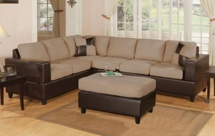 Hazelnut Microfiber Plush And Faux Leather Finish Sectional Sofa W 2 Pillows
