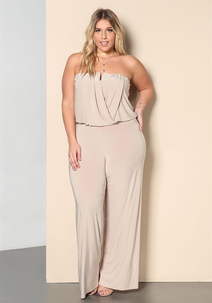 Plus Size Clothing | Plus Size Draped Strapless Wide Legged Jumpsuit | Debshops