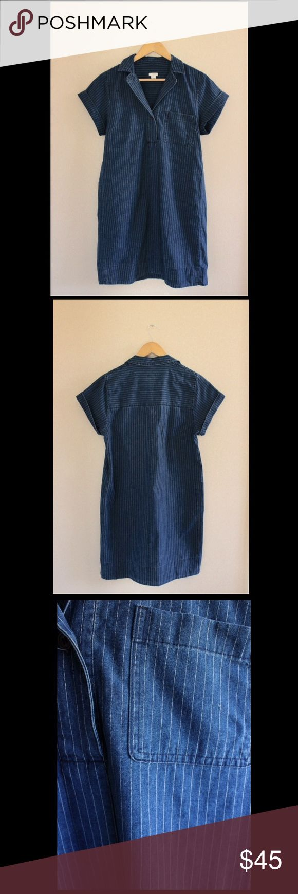 JCrew Chambray Dress Dark chambray shift dress with white pin stripes, cotton, falls above knee, button closure, chest pocket. Great throw on dress for summer! Just imagine- Panama hat and lace-up sandals! ☀️length is 35 inches J. Crew Factory Dresses Mini