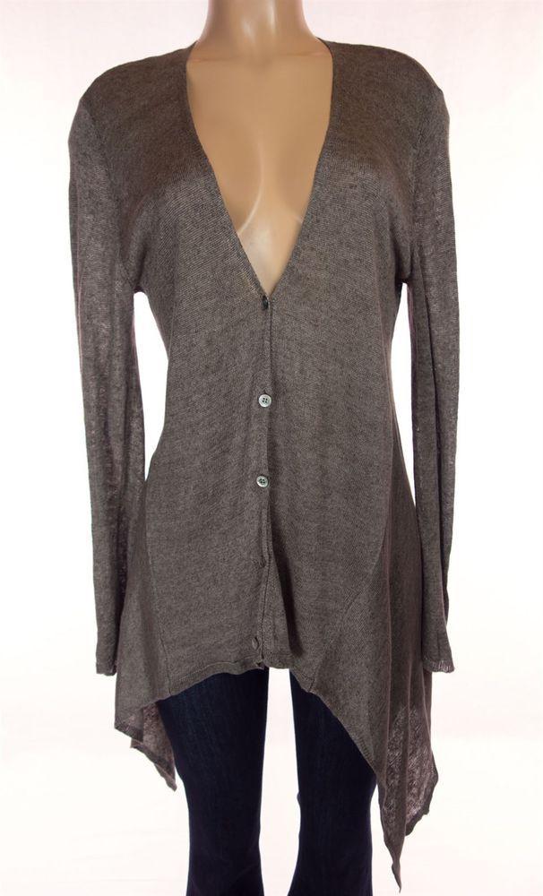EILEEN FISHER Sweater Size M Heathered Brown Linen Cardigan Lagenlook Knit #EileenFisher #Cardigan