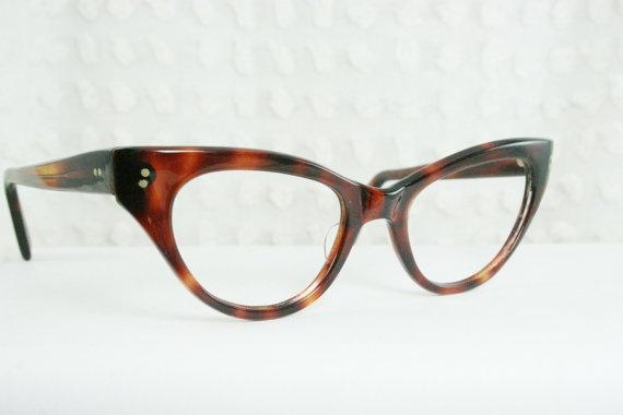 Vintage 50s Cat Eye Glasses 1950's Tortoise Eyeglasses Brown Amber Squared Classic Women's Frame NOS 48/23 Optical Frame. $98.00, via Etsy.