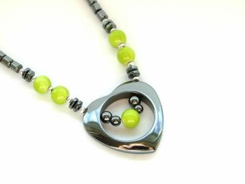 Black Hematite Heart Necklace 20'' Green Lime - Michael's UK Jewellery