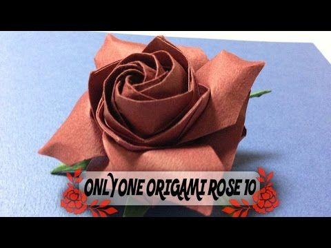 達人折りのバラの折り紙18 Only one origami rose 18 - YouTube