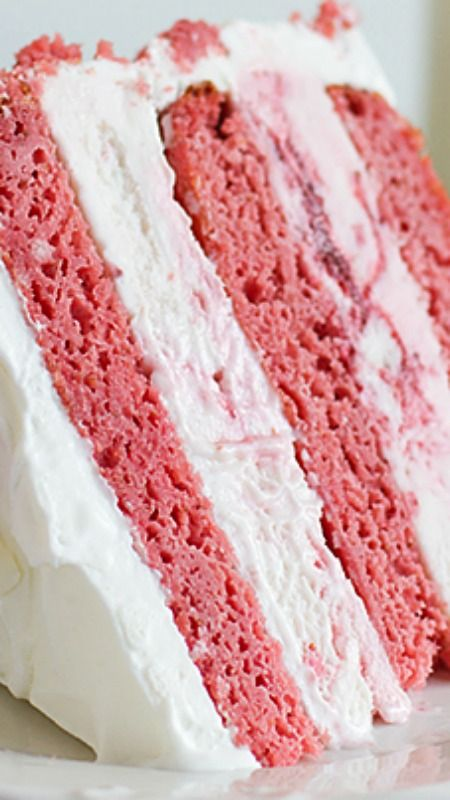 Strawberry Milkshake Ice Cream Cake ~ Layers of strawberry cake are sandwiched with strawberry ice cream and frosted with sweetened whipped cream for a delicious and fun ice cream cake.