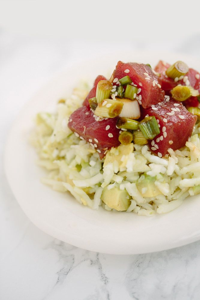 Poke Bowls with Kohlrabi Rice - Weight Watchers SmartPoints: 5 points