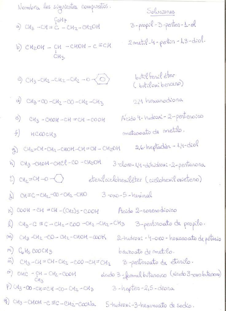 Ejercicios variados resueltos de formulación orgánica