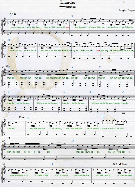 Imagine Dragons — Thunder Download PDF Piano Sheet Music
