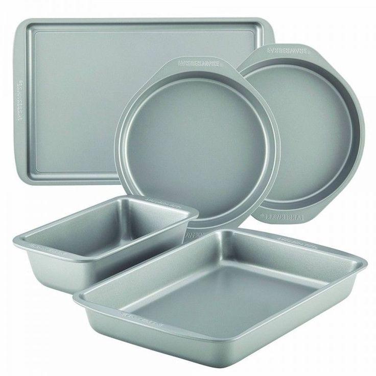 Nonstick Baking Pan Set Kitchen Bakeware Steel Oven Cake Bread Turkey Pans 5 Pc #NonstickBakingPanSet