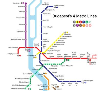 The underground map of Budapest with the addition of the new green 4th metro line in March 2014