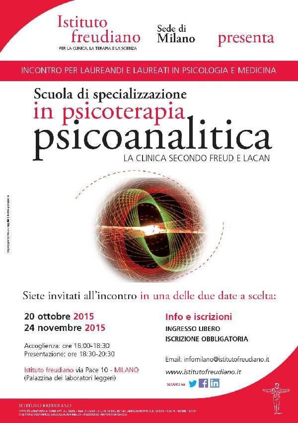 L'Istituto freudiano, scuola di specializzazione in psicoterapia ad orientamento psicoanalitico lacaniano, martedì 20 Ottobre 2015 ha organizzato un incontro gratuito aperto ai laureandi e laureati