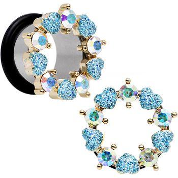 "9/16"" Aurora and Aqua Gem Heart Wreath Single Flare Tunnel Plug Set | Body Candy Body Jewelry"