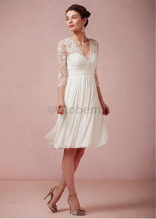 Robe de mariée satin chiffon petite col en v a-ligne empire