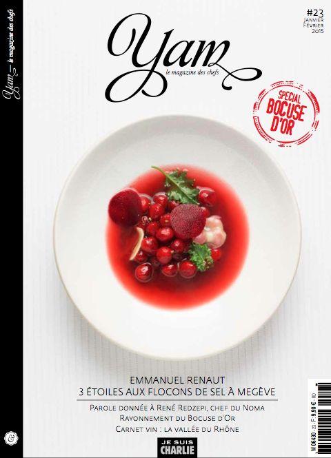 Aujourd'hui, sortie du YAM 23 !  Retrouvez dans tous vos kiosques à partir d'aujourd'hui le dernier numéro du magazine YAM.  Le rédacteur en chef invité, Emmanuel Renaut, chef du Flocons de Sel nous fera découvrir son univers culinaire.  www.y-a-m.com