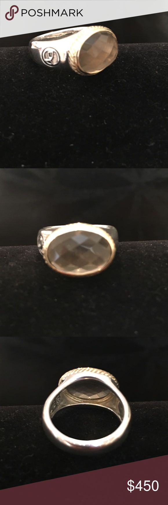 David Yurman SS/18K Gold frosted Smoky Quartz Ring David Yurman Sterling Silver/18K Yellow Gold frosted Smoky Quartz East/West Oval Round in size 6.  Never worn. David Yurman Jewelry Rings