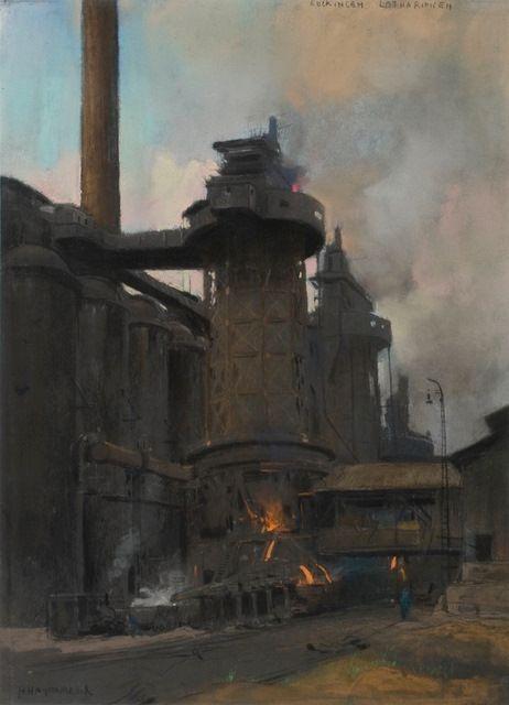 Hoogoven in Euckingen - Lotharingen - Vuurpotten worden van onderuit de oven gevuld en over een rail de fabriek ingereden.   Herman Heijenbrock