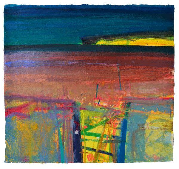 Yellow Gate, Ceide, by Barbara Rae mixed media, 57 x 62cm