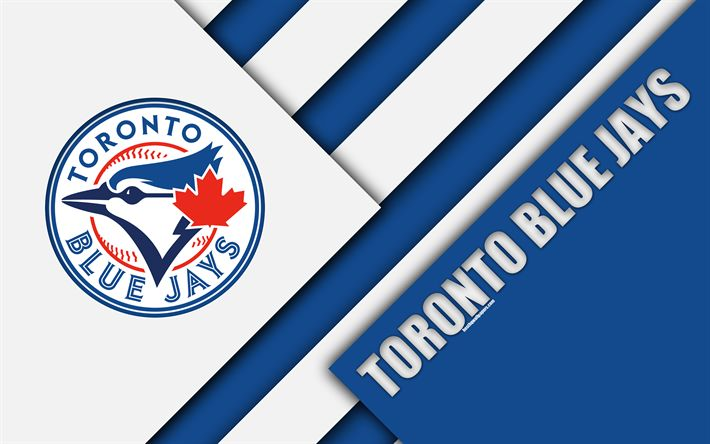Download wallpapers Toronto Blue Jays, MLB, 4k, blue abstraction, logo, material design, American baseball club, Toronto, Canada, USA, Major League Baseball, American League, East division