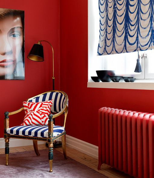Red, white and blue living room