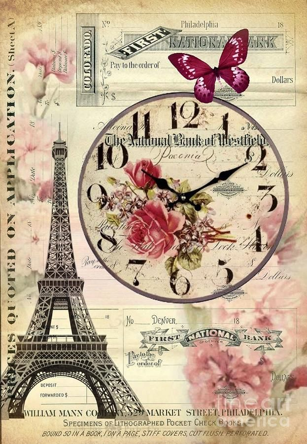 Vintage Paris Butterfly Antique Clock Digital Art by Cranberry Sky