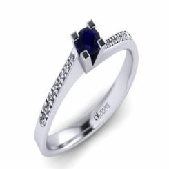 Inel de logodna ATCOM Lux cu safir si diamante MIRUNA aur alb